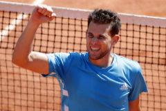 Tennis - French Open - Roland Garros, Paris, France - June 8, 2019. Austria's Dominic <HIT>Thiem</HIT> celebrates after his semifinal match against Serbia's Novak Djokovic. REUTERS/Charles Platiau