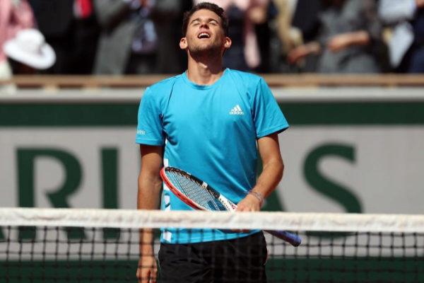 Dominic Thiem celebra su victoria sobre Djokovic.