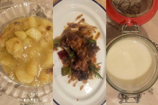 Marmitako de bacalao, codillos de pato asado con verduras y yogur con frutas.
