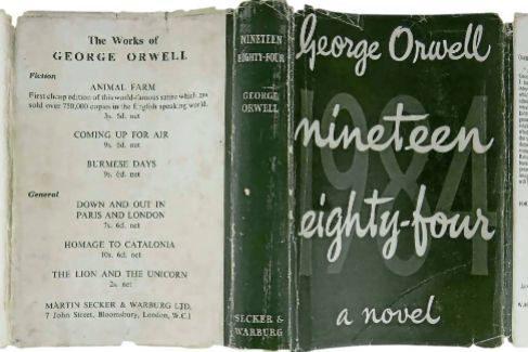 Cubierta de la primera edición de '1984', la novela distópica del escritor británico George Orwell.