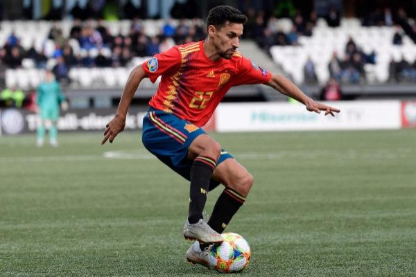 Jesús Navas en uno de los partidos de España para la clasificación de la Eurocopa 2020