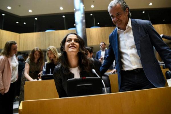 Inés Arrimadas y Marcos de Quinto, en una reunión de Ciudadanos en...
