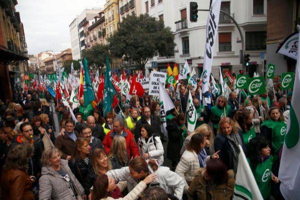 Funcionarios del Justicia se manifiestan el pasado mes de noviembre en Madrid.