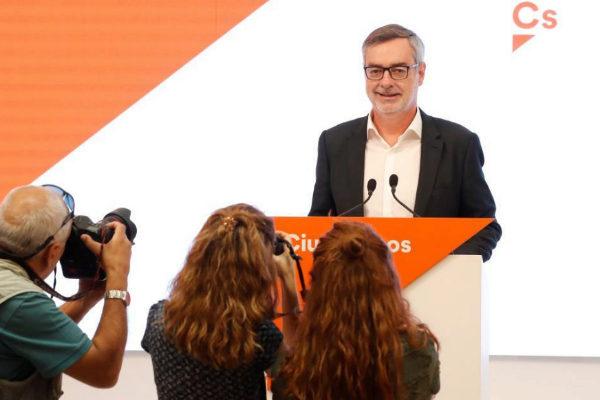 José Manuel Villegas, en rueda de prensa en la sede de Ciudadanos.