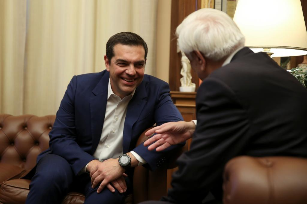 Greek PM <HIT>Tsipras</HIT> meets with Greek President Pavlopoulos to...