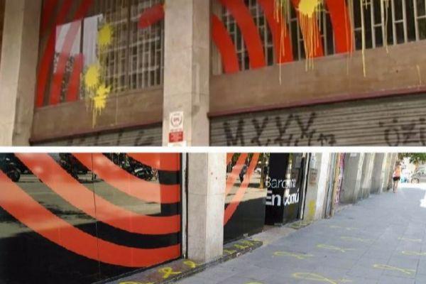 Pintadas y lazos amarillos en la sede de BComú,