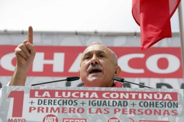 El líder de UGT, Pepe Álvarez, durante el pasado 1 de Mayo.