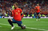 Sergio Ramos celebra el primer gol ante Suecia.