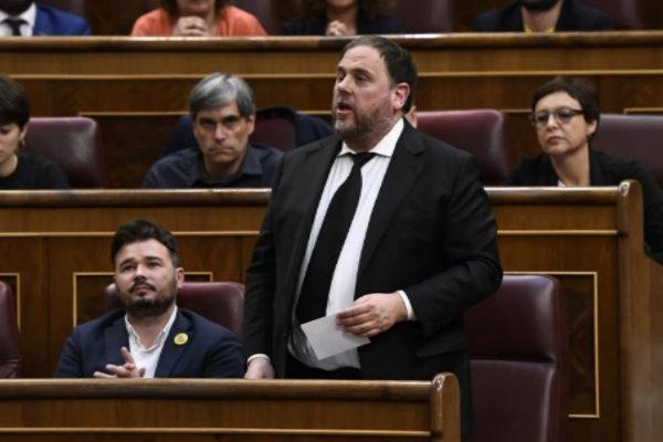 Oriol Junqueras, durante su toma de posesión como diputado.