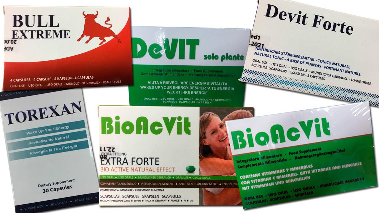 Imagen de algunos de los productos retirados.