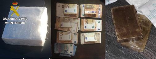 Dinero y droga incautada en una operación realizada por la Guardia Civil esta semana en el norte de Castellón.