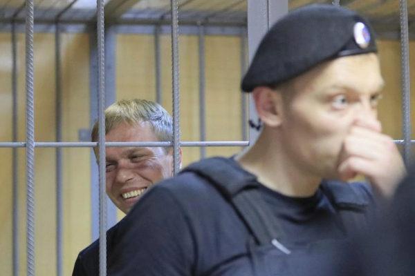 Russian investigative journalist <HIT>Golunov</HIT> attends a court...