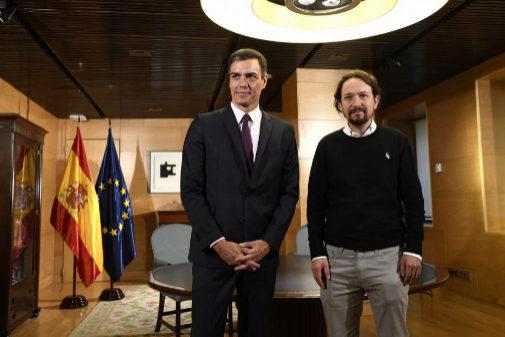 Pedro Sánchez y Pablo Iglesias, en su encuentro en el Congreso