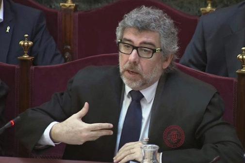 Jordi Pina, durante una sesión del juicio del 1-O