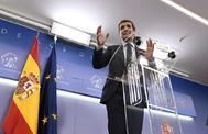 Pablo Casado, este martes, en rueda de prensa.
