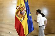 El líder de Podemos, Pablo Iglesias, este martes en el Congreso tras reunirse con Pedro Sánchez.