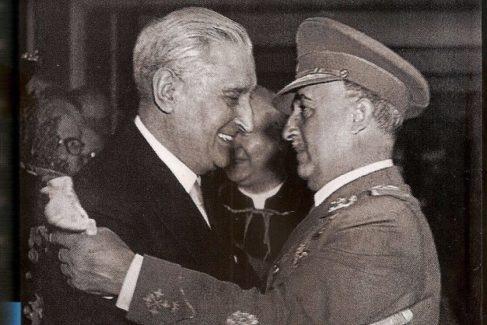 Salazar y Franco, en 1949, durante uno de sus frecuentes encuentros.