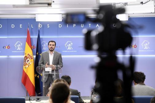 Alberto Garzón comparece en el Congreso tras su reunión con el Rey en el marco de la ronda de consultas.
