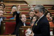 Iceta vota su designación como senador en el Parlament.