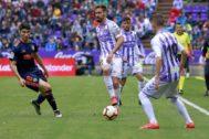 Borja, con el balón en el Valladolid-Valencia del 18 de mayo.