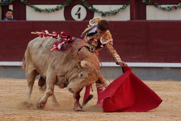 Largo y templado natural de El Juli al jabonero quinto toro de la tarde, ayer en la Monumental de las Ventas.