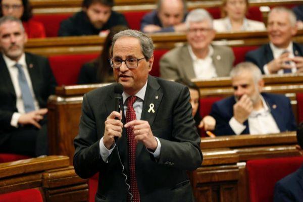 El president Torra en una sesión de control en el Parlamento, en una imagen de archivo.