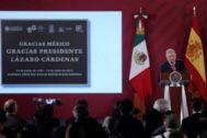 El presidente mexicano, Andrés Manuel López Obrador, durante el acto sobre el exilio republicano español