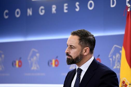 Santiago Abascal, en rueda de prensa en el Congreso de los Diputados