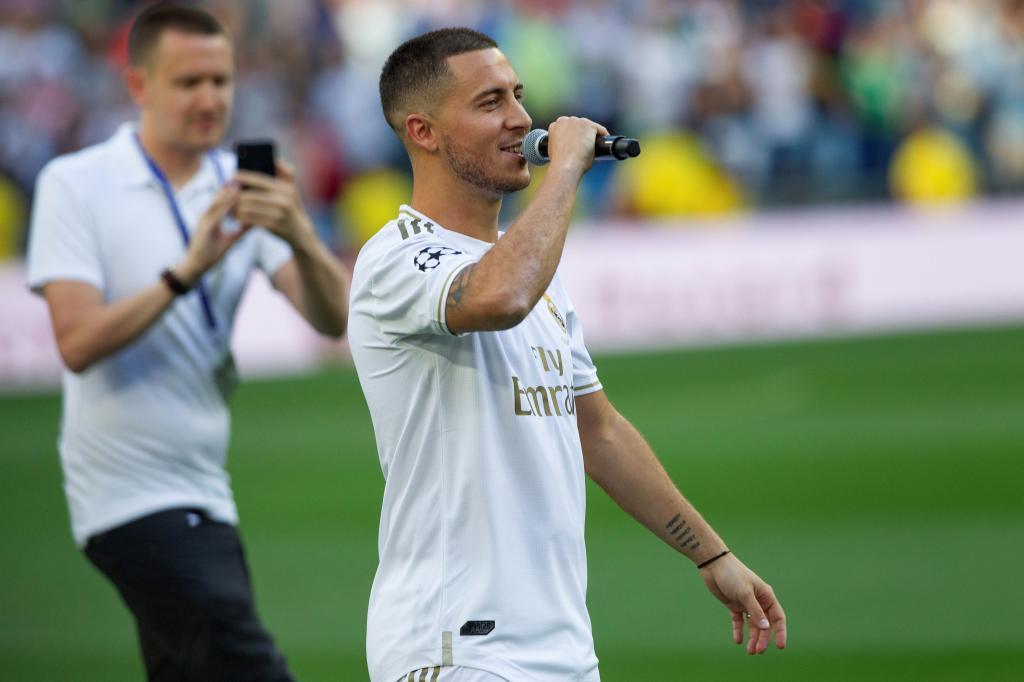 GRAF7985. MADRID.- El centrocampista belga Eden <HIT>Hazard</HIT> durante su presentación como nuevo jugador del Real Madrid, esta tarde en el estadio Santiago Bernabéu, en Madrid.