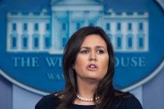 Sarah Sanders durante una rueda de prensa en la Casa Blanca, Washington.