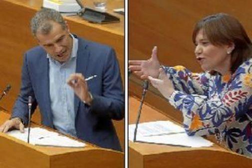 A la izquierda, Toní Cantó, de Ciudadanos. Ala derecha, Isabel Bonig, del PP.
