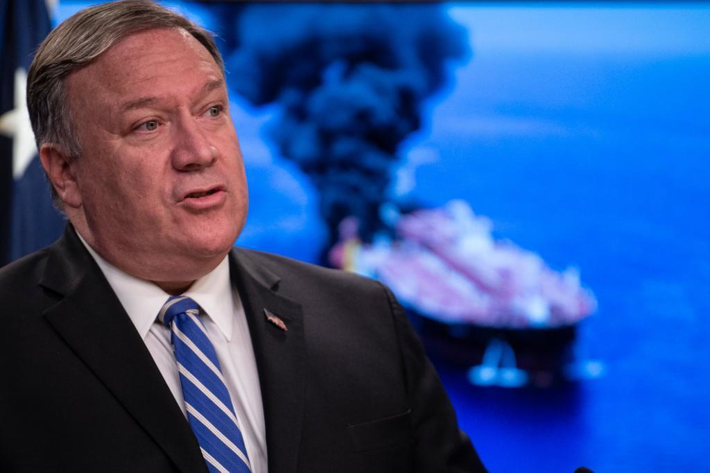 El secretario de Estado estadounidense, Mike Pompeo, durante su comparecencia ayer, en Washington.