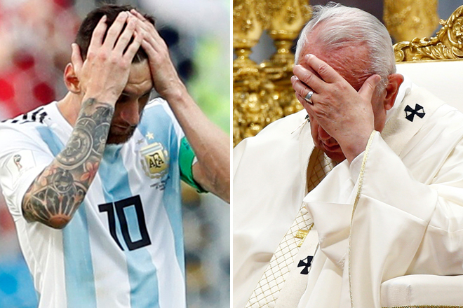 Leo Messi y el Papa Francisco.