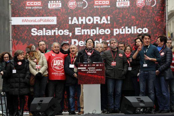 Manifestación de funcionarios en Madrid para exigir un aumento salarial.