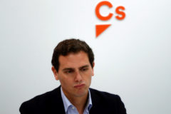 Ciudadanos leader Albert Rivera sits at the start of an executive meeting at their headquarters the day after general elections, in Madrid, Spain, April 29, 2019. REUTERS/Susana Vera/File Photo