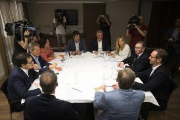 Reunión en Zaragoza del Comité de pactos de Cs de Aragón con el PP.