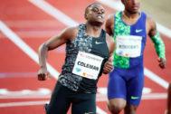 EPA2081. OSLO (NORUEGA).- El atleta estadounidense Chris <HIT>Coleman</HIT> celebra tras ganar los 100 metros vallas masculino este jueves durante la Liga Diamante de la Asociación Internacional de Federaciones de Atletismo (IAAF), celebrada en el estadio Bislett, en Oslo (Noruega).   PROHIBIDO SU USO EN NORUEGA