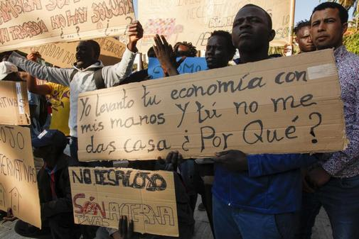 Concentración inmigrantes en Lepe el pasado 6 de junio.
