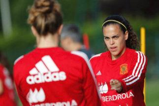 Andrea Sánchez Falcón, durante un entrenamiento de la selección.