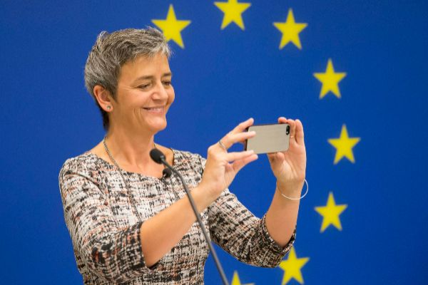 La comisaria europea de Competencia, Margrethe Vestager, en un acto de la UE en Washington.