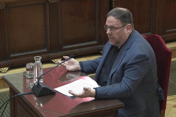 Oriol Junqueras, durante su turno de última palabra el miércoles, en...