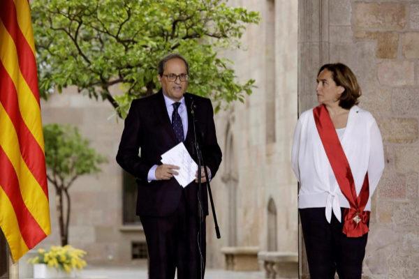 El president de la Generalitat Quim Torra y la alcaldesa de Barcelona Ada Colau.