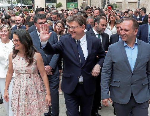 Mónica Oltra, Ximo Puig y Rubén Martínez Dalmau, ayer.