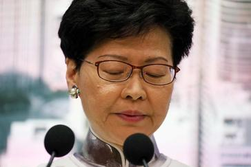 Hong Kong Chief Executive <HIT>Carrie</HIT> <HIT>Lam</HIT> attends a news conference in Hong Kong