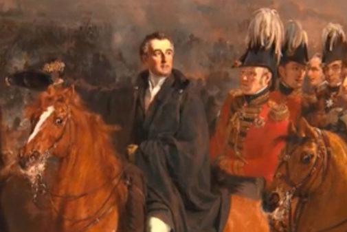 Al centro de la imagen, a caballo, Wellington. El primero por la derecha, el general vitoriano Álava. Así aparecen en la 'foto' de la batalla, realizada por el pintor holandés Jan Pieneman.