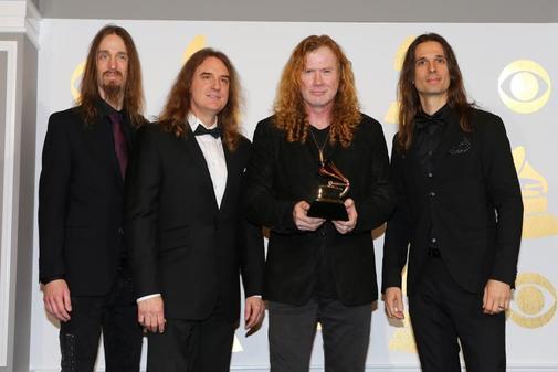 Dave Mustaine (2º por la dcha.) cuando el grupo Megadeth recibió el...