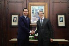 Moreno Bonilla, junto al primer ministro marroquí, Saad-Eddine El Otmani.