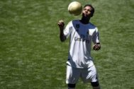 Rodrygo, durante su presentación en el Bernabéu.