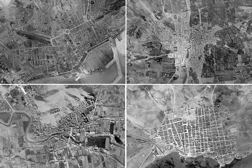 De izquierda a derecha, en el sentido de las agujas del reloj, imágenes de Alicante, Elche, Orihuela y Torrevieja, de 1929-30