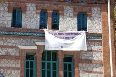 Más Madrid denuncia que el nuevo Ayuntamiento retira las pancartas contra la violencia machista de edificios municipales